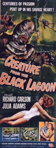 CREATURE FROM THE BLACK LAGOON (1953) - Richard Carlson - Julia Adams - Richard Denning - Directed by Jack Arnold - Universal-International Pictures - Insert Movie Poster.