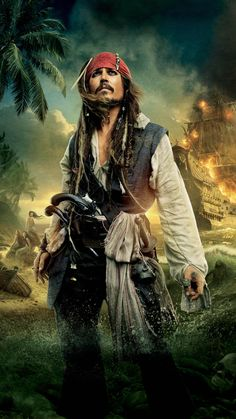 """Johnny Depp as Captain Jack Sparrow in the """"Pirates of the Caribbean"""" films Jack Sparrow Tattoos, Jack Sparrow Quotes, Johnny Depp Wallpaper, Captain Jack Sparrow, Caribbean Art, Pirates Of The Caribbean, Jack Sparrow Wallpaper, Bateau Pirate, Johnny Depp Pictures"""