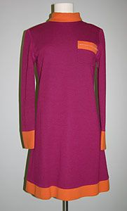 "Deep pink-red wool jersey mini dress with orange wool jersey contrast collar, cuffs, hem, and zippered breast pocket, by Mary Quant, English, c. 1960s. Label: ""Mary Quants Ginger Group. Made in England"""