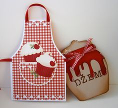 handmade cards ... pair of special shapes .... apron with gingham print and cupcakes ... jam jar overflowing with jam ... fun designs ...