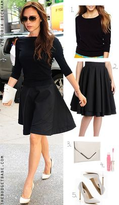 Victoria Beckhams black sweater, flare skirt and white heels #dressbynumber