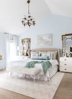 Calming Master Bedroom | Campaign Chests | Monogrammed Bedding | Abstract Art | Bamboo Mirrors | Lucite Curtain Rods www.styleyoursenses.com