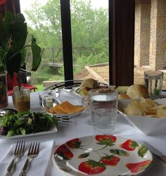 Intimate luncheon at Givens Farm with the bridge in the foreground.