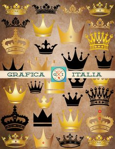 Crown Clipart Elements Digital Download Queen King Princess Royalty Clip Art Design DIY Wedding Invitations, Craft Projects and Scrapbooking Supplies by graficaitalia