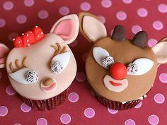 """Christmas"" Holiday Reindeer Cupcakes...  #cupcake #cupcakes #cakes #cake #dessert #christmas #holiday #ideas #idea #food #recipes #Recipe #reindeer #rudolph #cupcakedesigns #cupcakeideas #pinterest #love @Mad4Clips"