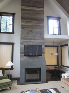 Concrete Fireplace Surround by Buckets Of Stone, color is Crestwood Green