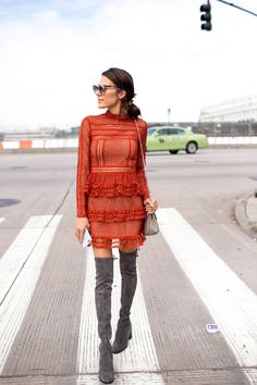 DETAILS: ORANGE LACE MINI DRESS | GREY OVER-THE-KNEE BOOTS | GREY CROSSBODY | SUNGLASSES An over-the-knee boot is officially a staple for your fall and winter wardrobes. Stuart Weitzman's are literall