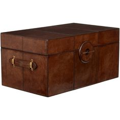 OKA Saddle Leather Trunk, Large (5.985 RON) ❤ liked on Polyvore featuring home, furniture, tables, accent tables, nut brown, brown table, shoe furniture, oka furniture, brown furniture and brown coffee table