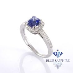 Classic blue sapphire engagement ring with diamond halo