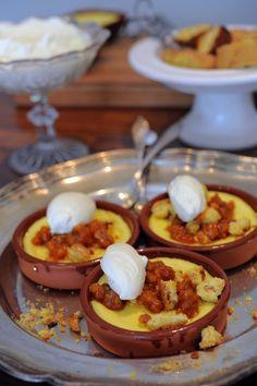 Special Swedish dessert called eggcheese with saffronbiscottis and cloudberries