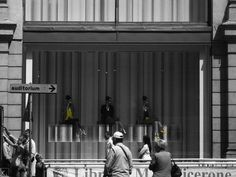 Urban yellow @Rome #urban_yellow #clothing #shop_window #urbanism #city_centre #Largo_Chigi #travel #greyscale #blackandwhite_photography #yellow #repetition #urban_photography