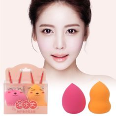 2pcs Makeup Sponge Cosmetics Puff Flawless Foundation Sponge Powder Puff Beauty Clean Make up Puff Color Random Delivery