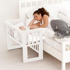 A co-sleeper is a baby bed that attaches to one side of an adult bed. It allows baby to remain close to the parents at night without actually being in the adult bed (which can be dangerous sometime… Co Sleeper Crib, Bedside Bassinet Co Sleeper, Bedside Crib, Diy Bebe, Everything Baby, Baby Needs, Baby Furniture, Baby Time, Baby Cribs