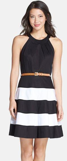 Chic striped dress w/ a halter-style neckline & a brown skinny belt
