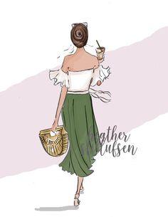 Fashion Illustration - Summer Fashion - Coffee - Fashion Strolling....