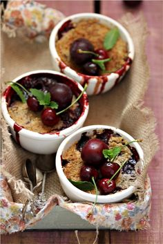 A cherry and plum crisp that is simple and delicious. A celebration of summer! Cherry Desserts, Just Desserts, Delicious Desserts, Yummy Food, Plum Crisp, Tasty Bites, Whole Foods Market, Let Them Eat Cake, I Love Food