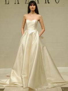 Strapless satin ball gown