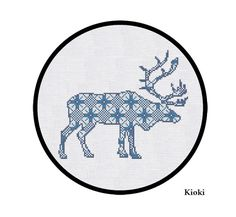 SALE Cross Stitch Pattern Christmas Reindeer in blue Instant Download