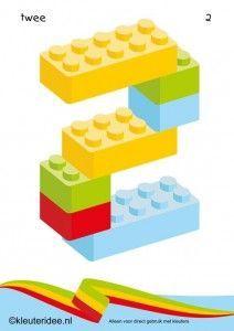 Cijfers van lego 1 -10 voor kleuters, nummer 2 , kleuteridee.nl , lego numbers for preschool 1-10 , free printable.