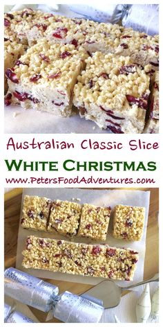 white christmas An Australian Christmas favourite, easy to make, loved by kids and grown ups. Perfect for the holidays! Made with Crisco/Copha or virgin coconut oil, dried cranberries, Rice Krispies and white chocolate - White Christmas Slice Recipe Australian Christmas Food, Aussie Christmas, Christmas Lunch, Christmas Sweets, Christmas Cooking, White Christmas Desserts, Christmas Baking For Kids, Christmas Cakes, Christmas Goodies