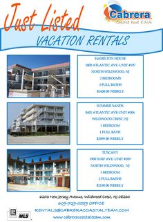 Three more great rentals! Before you visit the beaches of Wildwood, NJ, visit www.cabreracoastalteam.com to book the perfect rental property!