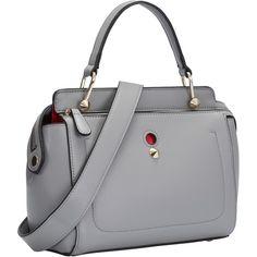 SheIn(sheinside) Grey Zipper Rivets PU Shoulder Bag (€24) ❤ liked on Polyvore featuring bags, handbags, shoulder bags, studded handbags, zip purse, zipper shoulder bag, grey shoulder bag and grey handbags