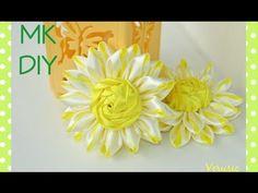 Необычная ромашка из атласных лент/Цветок канзаши / A camomile of satin ribbons / Flower kanzashi - YouTube