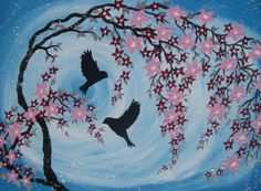two birds on canvas pale blue pastel light by TheCateEscape, $160.00