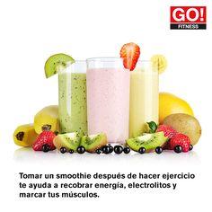 Toma un smoothie después de hacer ejercicio. #gofitness #clasesgo #ejercicio #gym #fit #fuerza #flexibilidad #reto #motivate