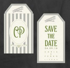 Proposta de Save-the-Date estilo etiqueta vintage para casamento da Ana Carina e Fernando.  Save-the-Date travel vintage tag style proposal for Ana Carina and Fernando's wedding.  #beapaper #convitecasamento #weddinginvitations #savethedate #vintagetag #etiquetavintage #design #reserveestadata #weddings #casamento