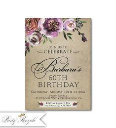 Bleu et or fleurs 70th personnalisé fête d/'anniversaire invitations
