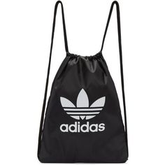 adidas Originals Black Trefoil Gym Backpack (€17) ❤ liked on Polyvore featuring bags, backpacks, black, logo drawstring bags, day pack rucksack, rucksack bags, shoulder strap bags and drawstring knapsack
