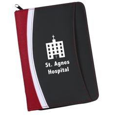 On sale - $5.49/100 pcs.  Jr pad folio fits iPad mini or small tablet on left side and has small notepad on the right side. - Staff retreat idea