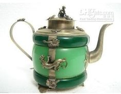 Gecko Green Tea pot Jade Collectibles