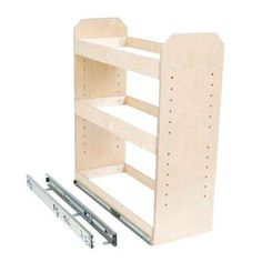 Slide-A-Shelf, Made-To-Fit 6 in. to 12 in. wide 3 Tier Adjustable Tower Cabinet Organizer, Full Extension, Poly-Finished Birch wood, at The Home Depot - Mobile Kitchen Cabinet Organization, Storage Cabinets, Kitchen Storage, Cabinet Organizers, Cabinet Closet, Closet Organization, A Shelf, Shelves, Storage Hacks