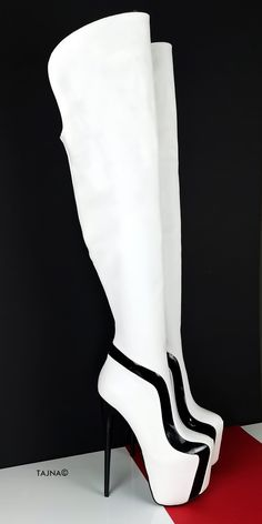 Thin High Heel Platform Thigh High Boots (Boots can be producedwith thicker heels if requested at checkout - in notes part ) Big sizes are also available. Sizes from eu33 to eu 45 (eu33 is 21 cm feet lenght, eu45 is30 cm feet lenght) You can inform us with your leg ( calf and ankle circumferences ) , we can make Knee High Platform Boots, High Heel Boots, Heeled Boots, Shoe Boots, Women's Shoes, White Thigh High Boots, Black And White High Heels, Thick Heels, Sexy Heels