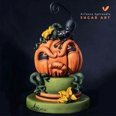 Gatto sulla Zucca - Torta di Halloween - Arianna Sperandio Sugar Art