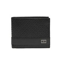 """Tommy Hilfiger men's wallet. For the guy that's so money—our leather wallet featuring our interlocking TH design. The perfect gift for the preppy gent (or yourself). <br/>•100% leather.<br/>•Currency compartments, ID window, card slots, logo plaque.<br/>•Passcase: 4.5"""" L x 3.5"""" W. <br/>•Imported.<br/>"""