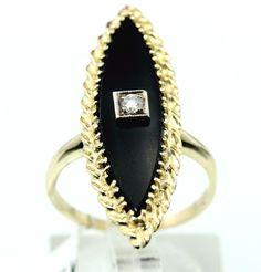 14K Yellow Gold Diamond/Onyx 0.05 TCW J/SI1 Cocktail Ring size 6.25 5.5g B4