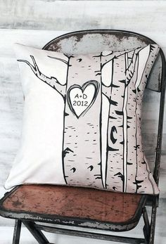Pillow Cover Cotton Anniversary Gift Birch Tree with Initials and Date