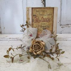 Shabby cottage French book stack ornate book by AnitaSperoDesign