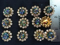 12 Crystal Black Opal Gold Buttons. Made in by AnafrezNotions - i love Czechoslovakian glass. have a few old pieces of jewelry from my mom - jo
