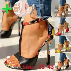 Women Summer Color Matching Sling with Super High Heel Fish Sandals Party Dress High Heels Floral Strap Shoes Open Toe Sandals