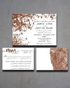 Fall Tree Bird Wedding Invitation  Fall Autumn by HeartwoodPaperie, $25.00