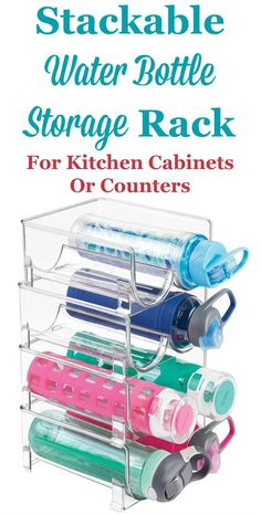Water Bottle Storage & Organization Ideas When you open your cabinet do water bottles fall or roll out? These bottles can be hard to store, but you can use this stackable water bottle storage rack on a counter, or inside a cabinet or on a pantry shelf, to