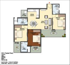 Floor Plan- 1400 sqft: 3 Bhk+ 3 bath+ 3 Balconies.