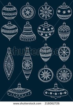 Set of hand drawn Christmas ball. Vector illustration.