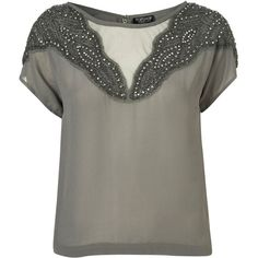 Grey Embellished Tee ($110) ❤ liked on Polyvore