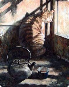 Pinturas asiaticas de gatos