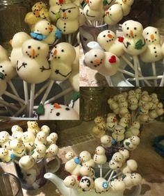 Snowman Christmas cake pops